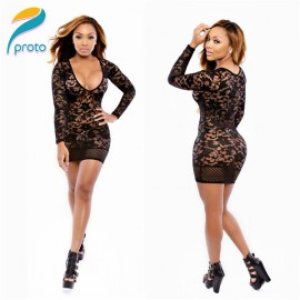 Vestido Sexy Deep V Neck Women Autumn Bodycon Lace Mesh Hollow Out Patchwork Club Prom Dress Casual Party  Dresses HW0237