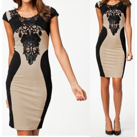 2014 Bandage Dress S M L XL XXL Plus Size Women New Casual Summer Dress Sexy Floral Embroidery Insert Bodycon Dress H9055