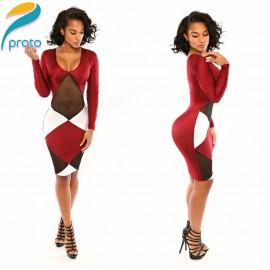 Vestidos De Festa Bodycon Bandage Sheath Transparent Mesh Sexy Casual Pencil Patchwork Red Dress Party Women Dresses