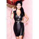 2015 New Fashion V Neck Black Leather Mini Summer Dresses Sexy Bodycon Bandage Party Dresses Desigual Vestidos Women Dress 9417