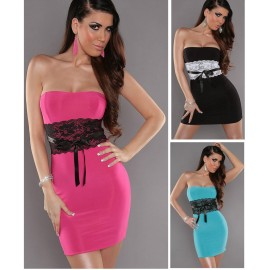 3 Colors    Fashion Women Sexy Strapless Lace Patchwork Bodycon Mini Dress Sexy Club Evening Party Dress 503
