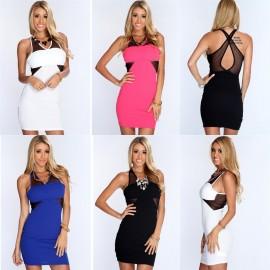 4 Colors   Summer Dress Women Mesh Panel Halter Bodycon Mini Dress 9137