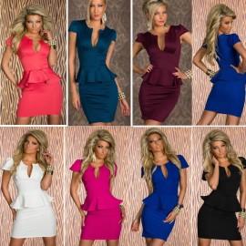 7 Color Plus Size   Sexy Peplum Bodycon Bandage Dress Elegant OL Business Dress Women Work Wear Summer Casual Dress 9005