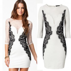 Autumn Dress   Vestidos De Festa Lace Dress White Elegant Bodycon Office Dress Women Sexy Bandage Party Dress 9027