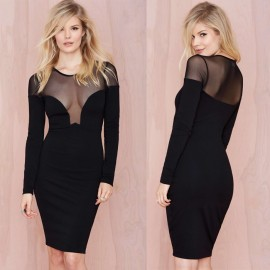 Autumn Long Sleeve Slim Lady Casual Knee Length Pencil Office Dress Sexy Transparent Mesh Chiffon Club Bodycon Dresses YK032
