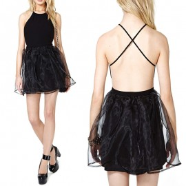 Black Sleeveless Halter Sexy Desigual Back Criss Cross Ball Gown Backless Girl Casual  Club Dress Lace Print Party Dresses 9182