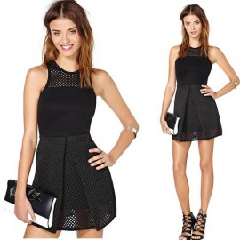 Bandage Dress High Street Graceful Sleeveless Leather Vintage Summer Casual Mini Dress 9086