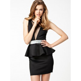 Fashion Women Black Color Sexy Key Hole Sequined Back Bodycon Peplum Dress 9062
