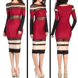 Women Fashioin Red, Black and Mesh Patchwork Bandage Dress Sexy Celebrity  Party Spring Dress 4090