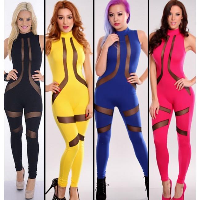 Summer  Design Sexy Gauze Panel Bodycon Dress 4 Colors Sleeveless Bandage Dress Celeb Casual Dress 4091