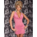 Fashion Sexy Deep V Neck Halter Backless Ruched Mini Clubwear Party Dress N083