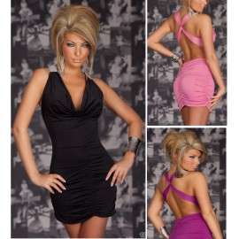 Fashion Sexy Deep V Neck Halter Backless Ruched Mini Clubwear Party Dress N083