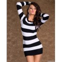 Fashion Women Sexy Stripped Long Sleeve Bodycon Evening Clubwear Mini Party Dress N101