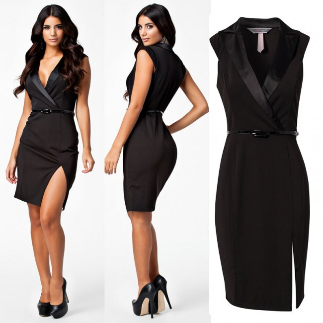 Fashion Women Black Notched Neckline OL Elegant Career Dress Women Work Wear Casual Dress with Belt 9030
