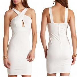 High Waist Stretchy Bodycon Dress   Fashion Cutout Sexy Dress Halter Empire White Dress Flower Women Party Dress 9123