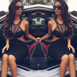 Hollow Out 2015 New Vestidos De Festa Women Sexy Dress Special Mesh Patchwork Backless Street Style Fashion Casual Dress HW0301