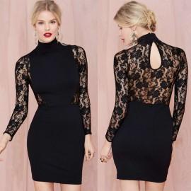 Hot Plus Size   Vestidos Autumn Women Full Lace Dress Bodycon Elegant Slim Pencil Bandage  Dresses Women Work Wear YK038