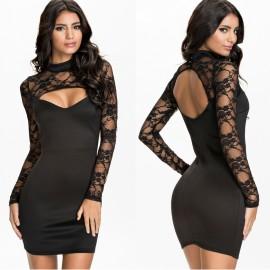 Long Sleeve Autumn Dress    vestido Vestidos Femininos Women Lace Bodycon Party Bandage Club  Sexy Casual Dress HW0213