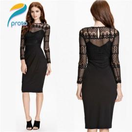 Long Sleeve Dress Floral Lace Vintage Casual  Bandage Dress   Design Black Elegant Celeb Winter Women Club Dresses HW0251