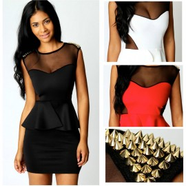 M L Plus Size Vestidos   Fashion Women Sexy Spike Peplum Bodycon Mini Casual Dress 2010