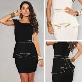 M L XL Plus Size   Fashion Women Elegant Black and White Vintage Peplum Dress Bodycon Casual Dress Bandage Dress N120
