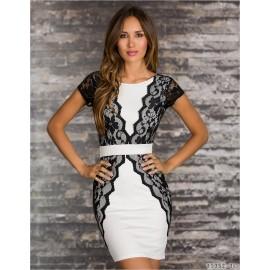 M L XL Plus Size   Fashion Women Elegant Lace Panel In Side Bodycon Bandage Dress Summer Casual Dress N135