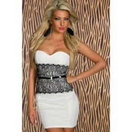 M L XL Plus Size  Summer  Fashion Women Sexy Strapless Bodycon Bandage Lace Floral Dress with Belt Mini Casual Dress N134