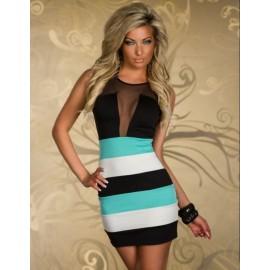 M XL Plus Size   Fashion Women Sexy Mesh Patchwork Mini Dress Bodycon Bandage Dress Party Dress 337