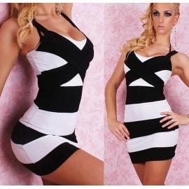 M XL Plus Size   Fashion Women Sexy White and Black Bodycon Bandage Dress 407