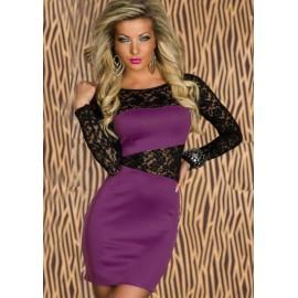 M XL Plus Size  Spring  Fashion Women Lace Insert Long Sleeve Bodycon Casual Dress 339