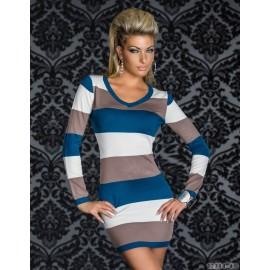 M XL XXL Plus Size   Fashion Women Sexy Long Sleeve Stripy Bodycon Party Club Mini Dresses Casual Autumn Dress N095