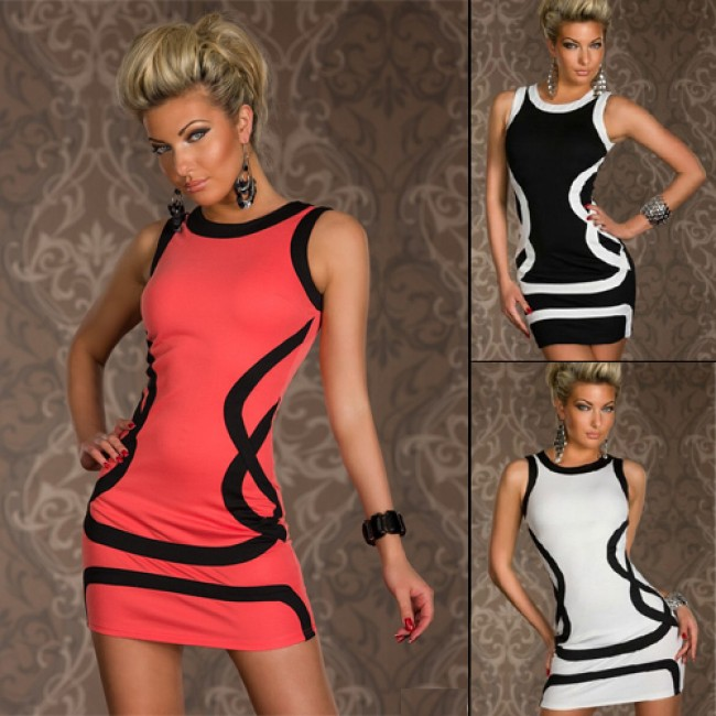 M XXL Plus Size   Fashion Women Black Trim Mini Party Dress Bodycon Club Dress N107