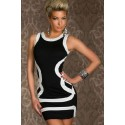 M XXL Plus Size   Fashion Women Black Trim Mini Party Dress Bodycon Club Dress N107