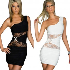 M XXL Plus Size   Fashion Women Lace Insert Casual Mini Summer Dress Sexy One Shoulder Bodycon Dress for Party N104