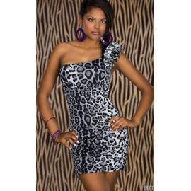 M XXL Plus Size   Fashion Women One Shoulder Sexy Leopard Print Dresses 4139
