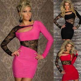 M XXL Plus Size    Fashion Women Sexy Long Sleeve Lace Clubwear Mini Dress Party Dress N110