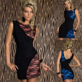 M XXL Plus Size    Fashion Women Sleeveless Lace Patchwork Sexy Clubwear Mini Party Dress N109