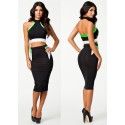 Plus Size Two Pieces Bandage Dress Top Crop   Fashion Midi Slim Fitted Stretchy Bodycon Evening Club Party Dresses HW0054