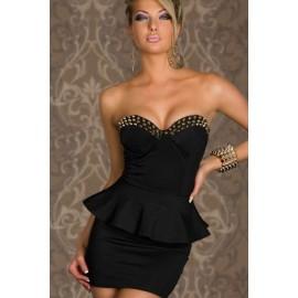 S M L   Fashion Women Sexy Strapless Rivet Spike Chest Bodycon Peplum Dress Party Dress 1349