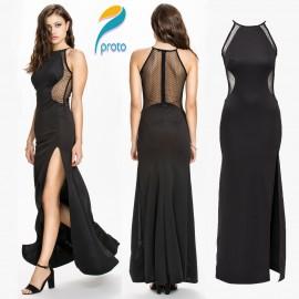 Sexy Black Mesh Patchwork Slip Novelty Dresses Sleeveless Evening Party Dresses High Street Long Dress Vestido De Renda HW0227