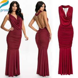 Vestido Longo   Design Wine Red Pleated Novelty Dresses Backless Sexy Long Party Dresses Elegant Tunic Sexy Dress HW0264