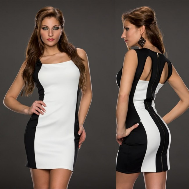 Vestidos Cutout Black White Monochrome Sexy Dress Tunic Slimming Stretchy Bodycon Bandage Dress Zipper Party Dresses 9102