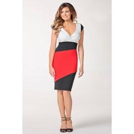 Vestidos De Festa 2015 New Fashion Women Evening Sexy  Dress V-neck Clubwear Color Blocking Patchwork Party Dresses HW0298