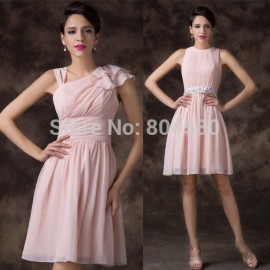 2 Styles Sexy Knee Length Ruched Casual Party Homecoming dress Short Evening Gown Slim Chiffon Prom dresses   CL62212