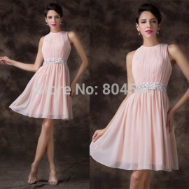 Charming  A Line Knee Length Chiffon Pink Beads waist Formal Homecoming Party Dress Short Prom Dresses Gown CL6222