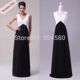 A-Line Princess V-neck Floor-Length special occasion Chiffon Pencil Prom Dress Formal Evening Dinner Dresses CL6036