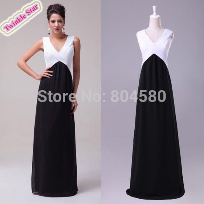 A-Line Princess V-neck Floor-Length special occasion Chiffon Pencil Prom Dress Formal Evening Dinner Dresses CL6036