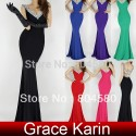 Sexy Women Deep V-Neck Backless Long Sheath Bandage Party Club Dress Beading Bodycon Evening Dresses CL6061