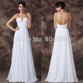 Classic Elegant Ladies Floor Length White Chiffon Party dresses Fashion Celebrity A Line Pageant Evening dress CL6192