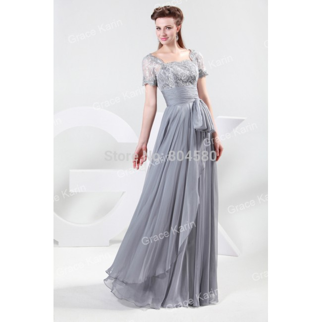 Fashion Grace Karin Short Sleeves Grey Chiffon & Lace special occasion evening dress Long Prom party Gown CL4445